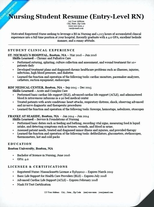 entry level nursing resume fresh examples of nurse resumes samples beautiful template Resume Entry Level Rn Resume
