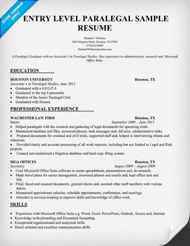 entry level paralegal resume sample resumecompanion student template format for law Resume Resume Format For Law Graduates