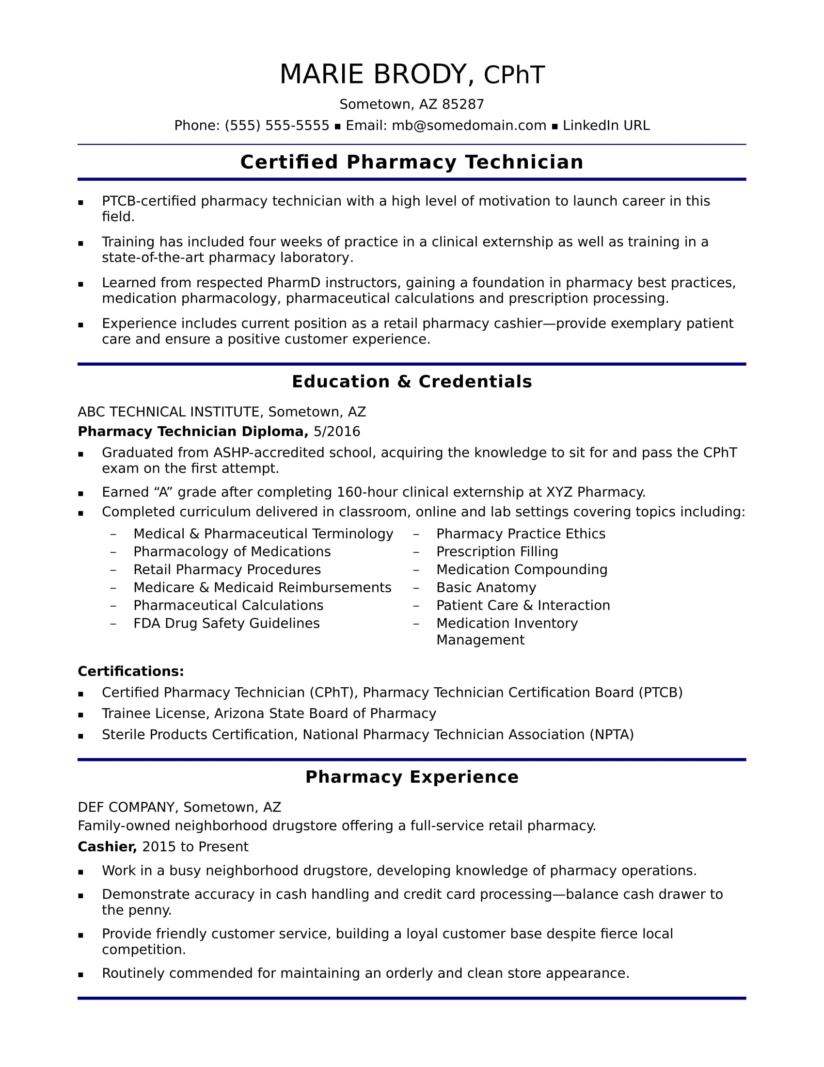entry level pharmacy technician resume sample monster cpr and first aid certification Resume Pharmacy Technician Resume