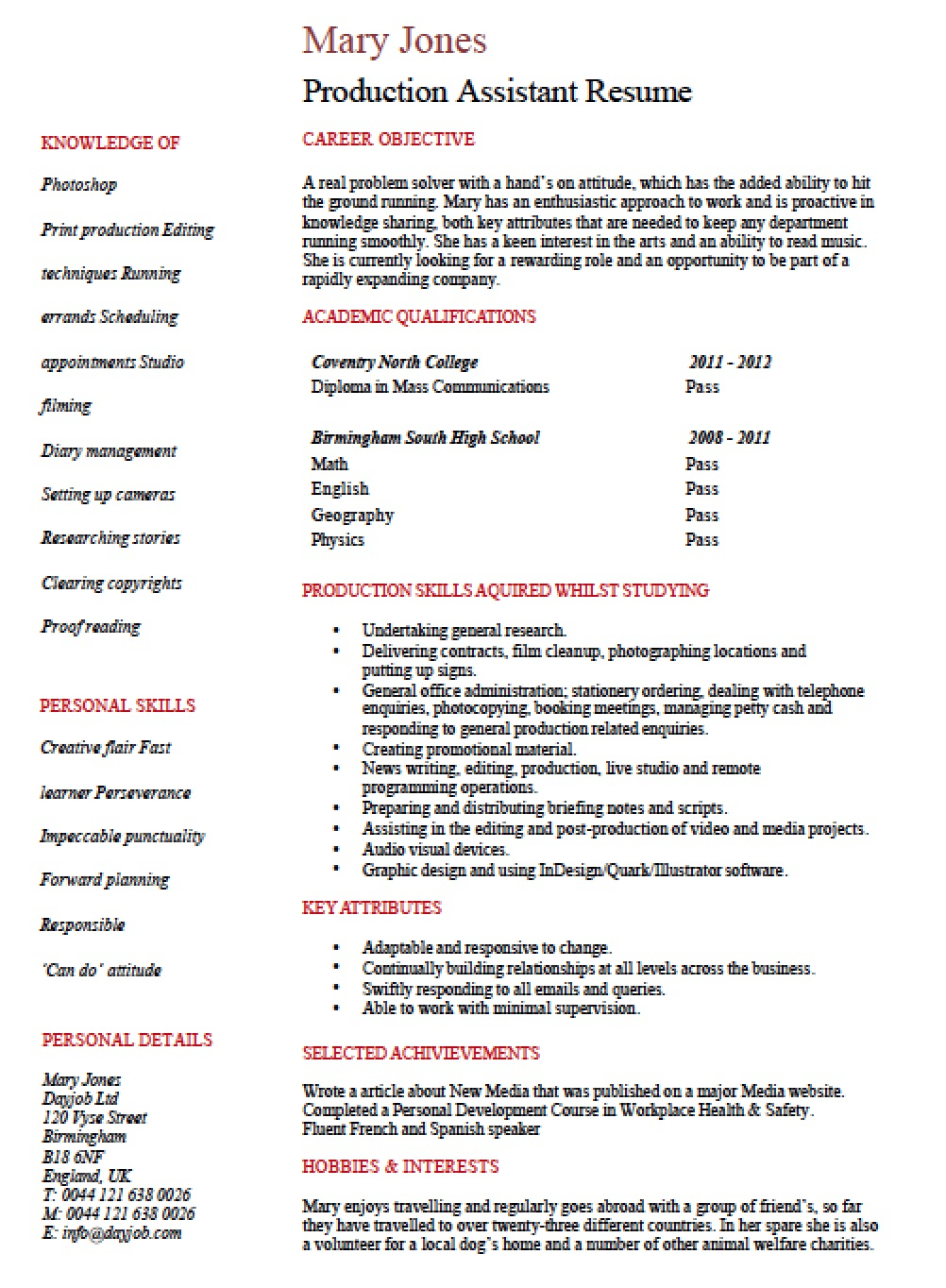 entry level production assistant resume template templates designated survivor shadowing Resume Entry Level Production Resume