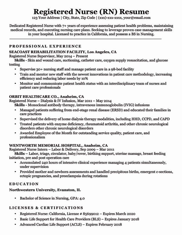 entry level registered nurse resume beautiful rn sample tips nursing examples of business Resume Sample Of A Registered Nurse Resume