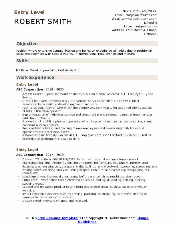 entry level resume samples qwikresume template pdf commissioning engineer social media Resume Entry Level Resume Template