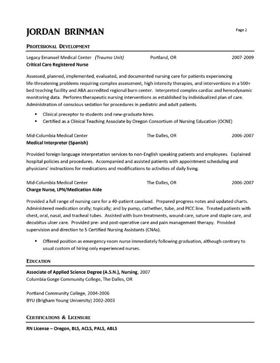 er nurse nursing resume examples registered emergency room college engineering font for Resume Emergency Room Nurse Resume