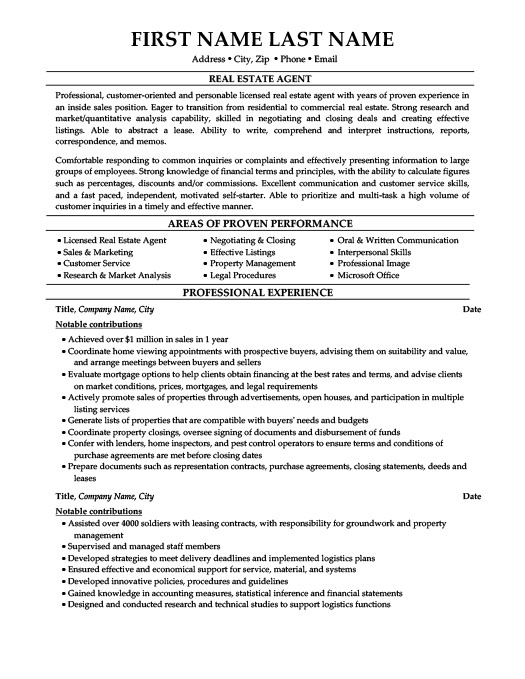 estate agent resume template premium samples example professional for first job college Resume Professional Real Estate Resume