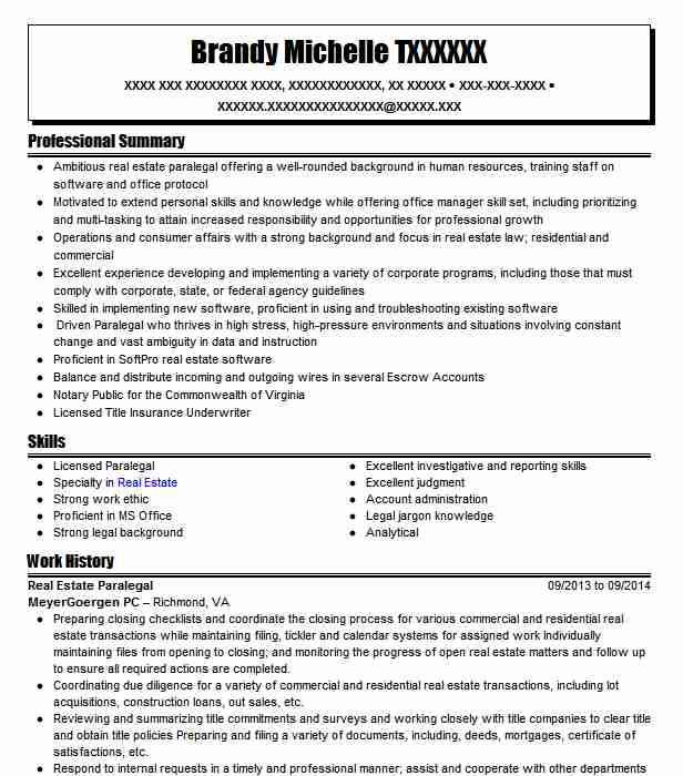 estate paralegal resume example cronan and shields llc writing summary section an Resume Real Estate Paralegal Resume
