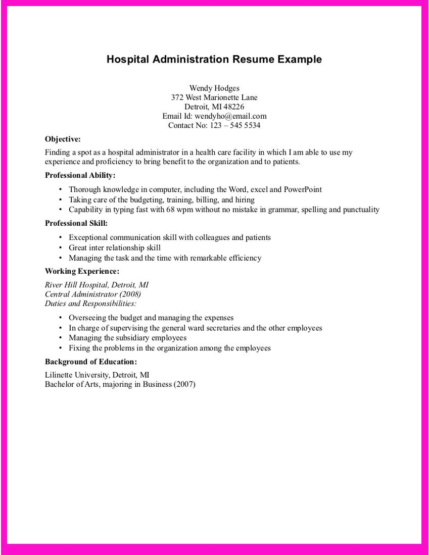 example for hospital administration resume are examples we provide job headline that Resume Resume For Hospital Job