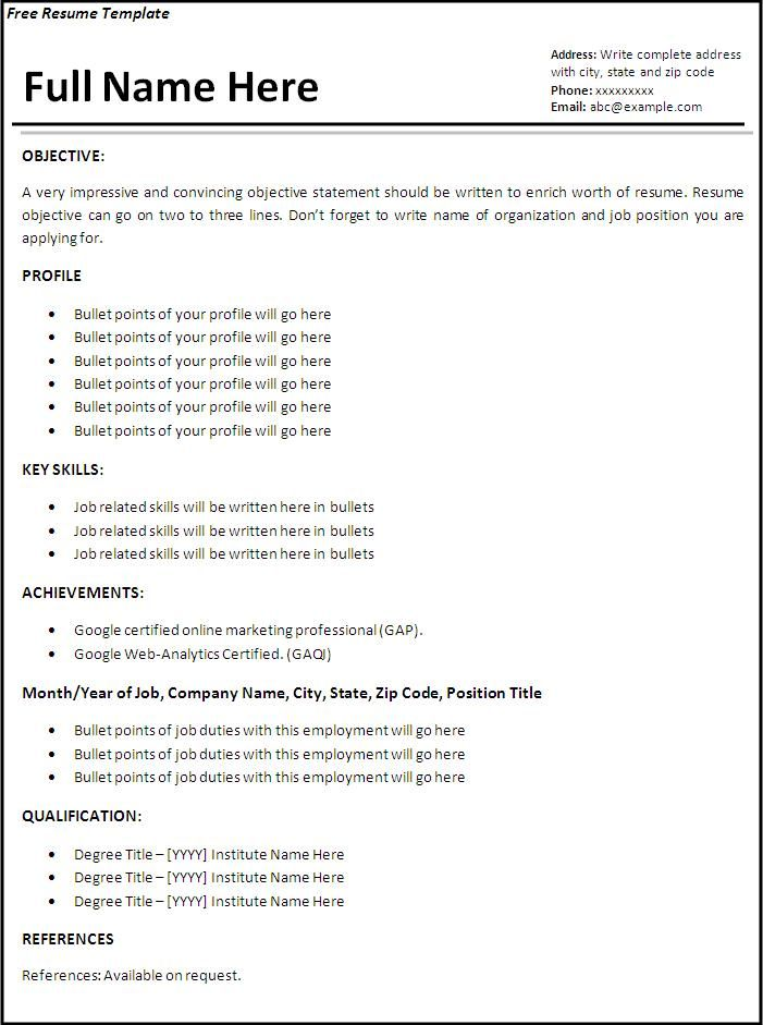 example of resume format for job first examples model templates free laborer duties Resume Model Resume Templates Free