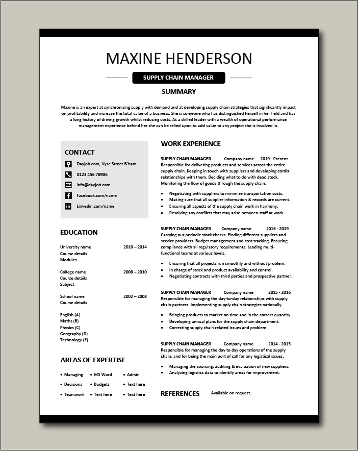 example of supply chain manager cv template logistics suppliers job description resume Resume Supply Chain Manager Resume