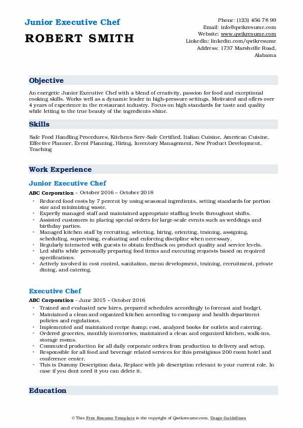 executive chef resume samples qwikresume examples pdf objective for secretary position Resume Executive Chef Resume Examples