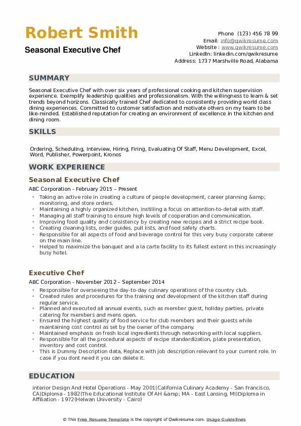 executive chef resume samples qwikresume for position pdf cyber security examples ecu Resume Resume For Chef Position