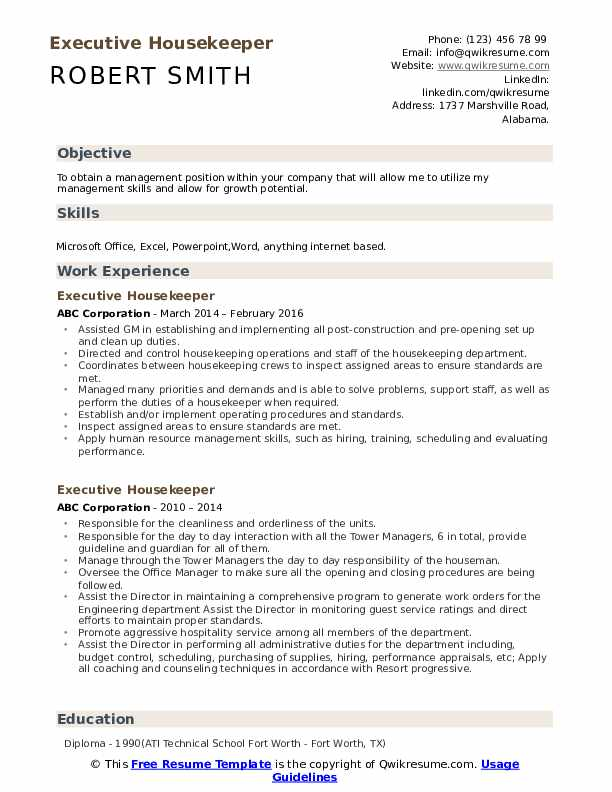 executive housekeeper resume samples qwikresume sample for housekeeping job pdf hostess Resume Sample Resume For Housekeeping Job