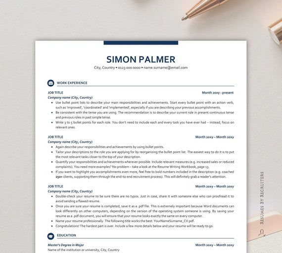 executive resume template ats friendly with icons etsy free il 570xn tf86 work experience Resume Ats Friendly Resume Template Free