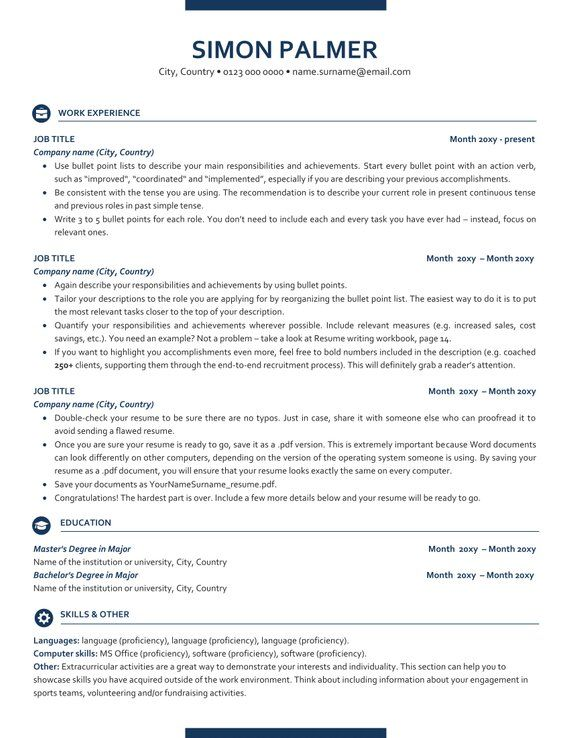 executive resume template ats friendly with icons etsy in templates free best font size Resume Free Resume Templates Ats Friendly