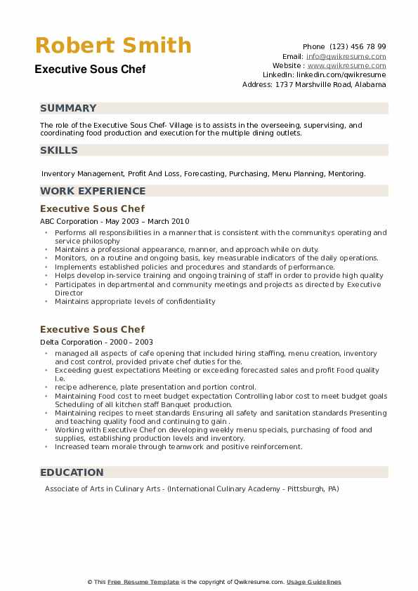 executive sous chef resume samples qwikresume examples pdf chronological format catching Resume Executive Chef Resume Examples