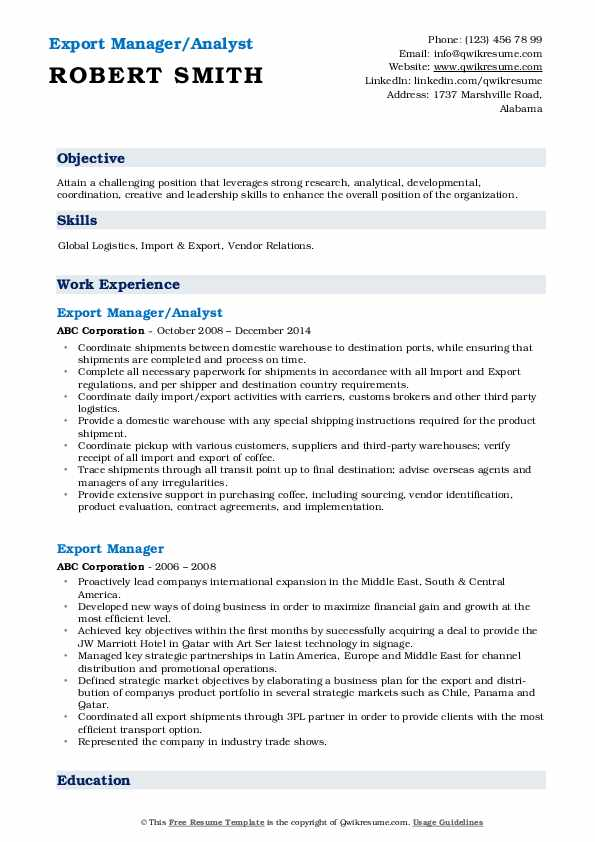 export manager resume samples qwikresume import executive pdf senior assistant sample for Resume Resume Import Export Executive