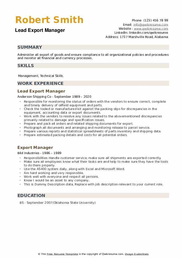 export manager resume samples qwikresume import executive pdf skills excel writing rules Resume Resume Import Export Executive