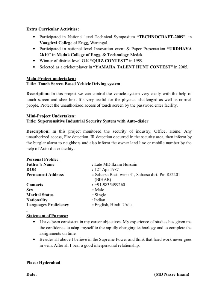 extracurricular activities in resume for freshers best examples cricket player format Resume Cricket Player Resume Format
