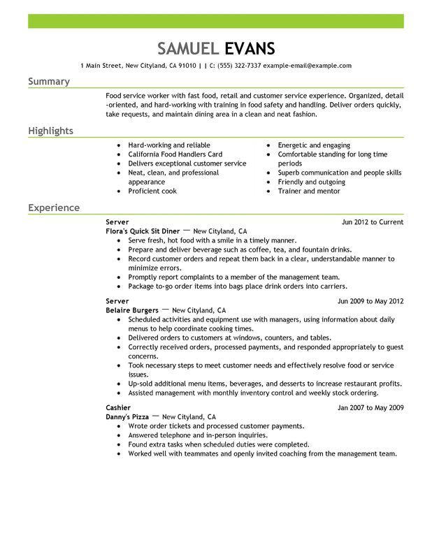 fast food server resume example free templates good examples template experience upload Resume Food Server Experience Resume