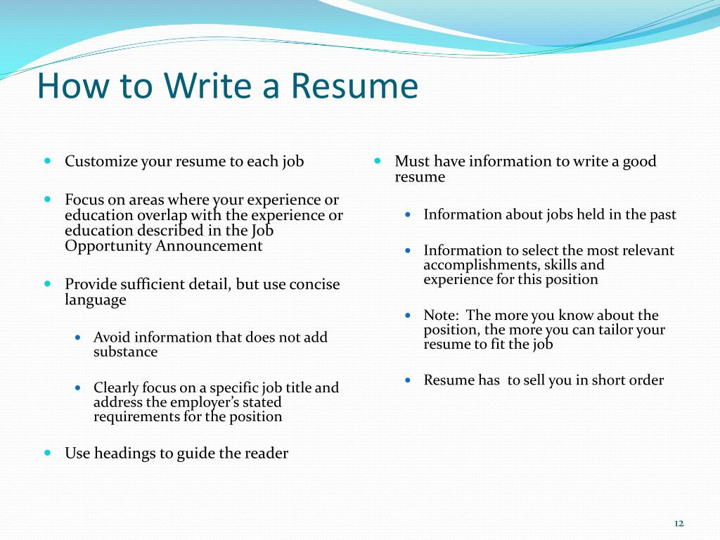 federal resume writing workshop powerpoint presentation free id customize for each Resume Customize Resume For Each Position