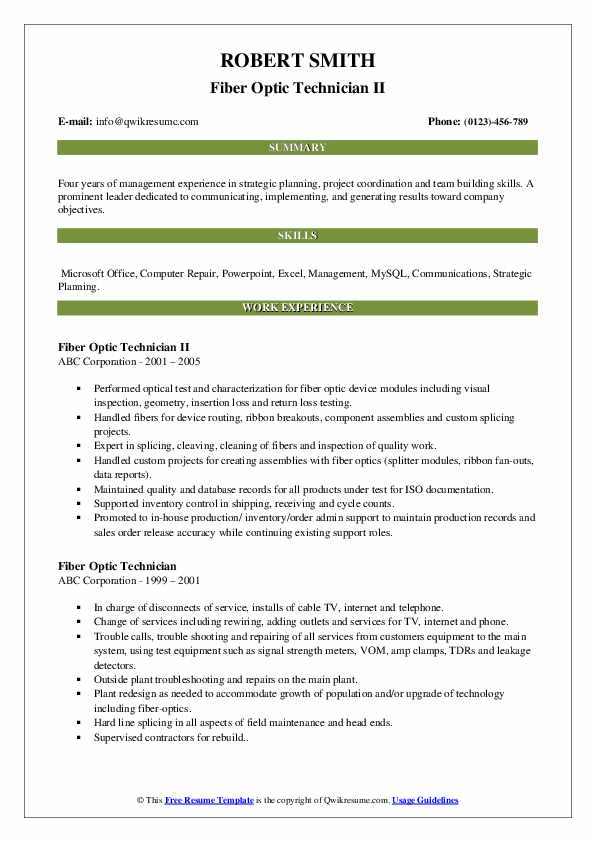 fiber optic technician resume samples qwikresume maintenance engineer pdf monster Resume Fiber Maintenance Engineer Resume