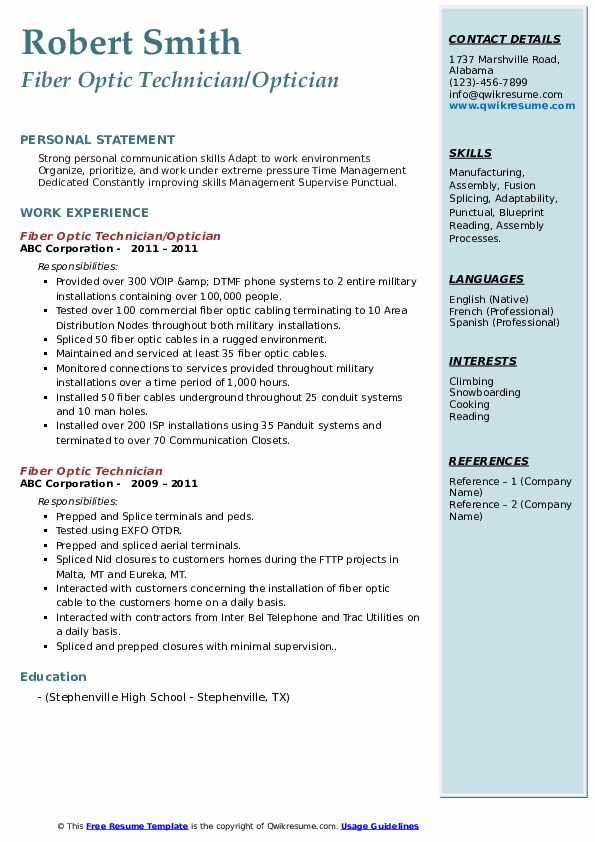 fiber optic technician resume samples qwikresume maintenance engineer pdf new graduate Resume Fiber Maintenance Engineer Resume