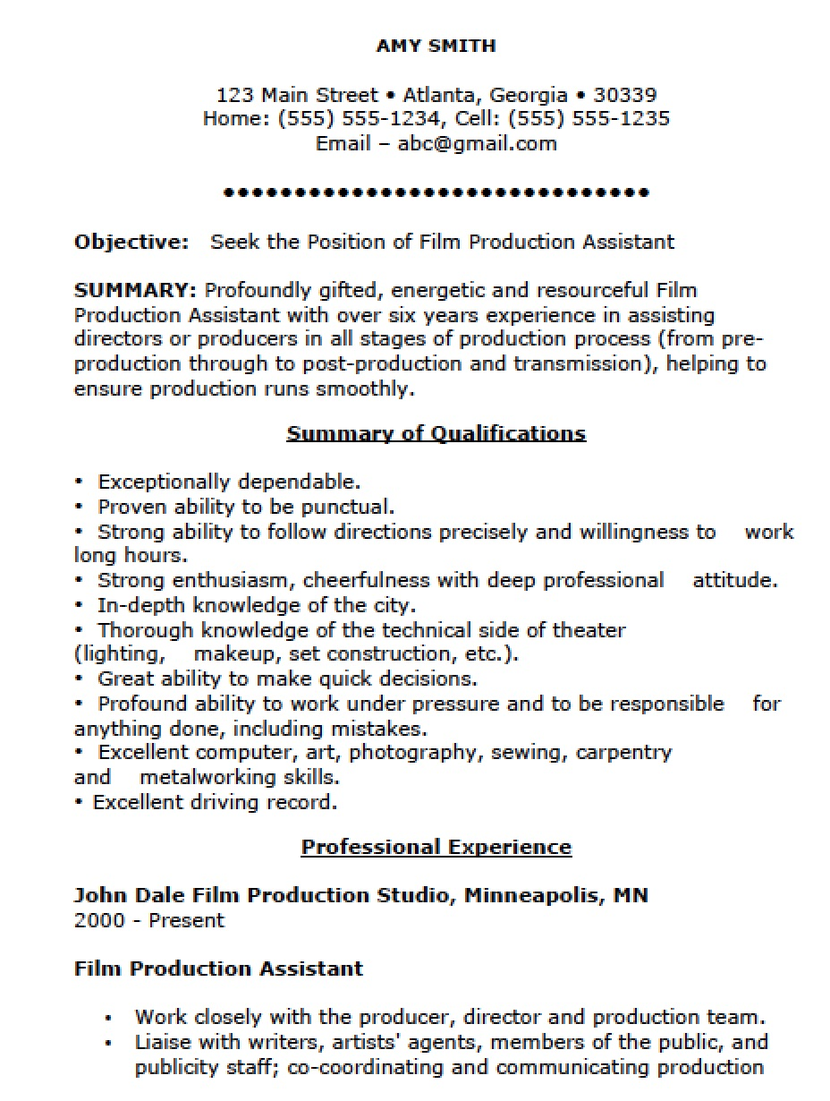 film production assistant resume template templates industry basic word linkedin builder Resume Film Industry Resume Template