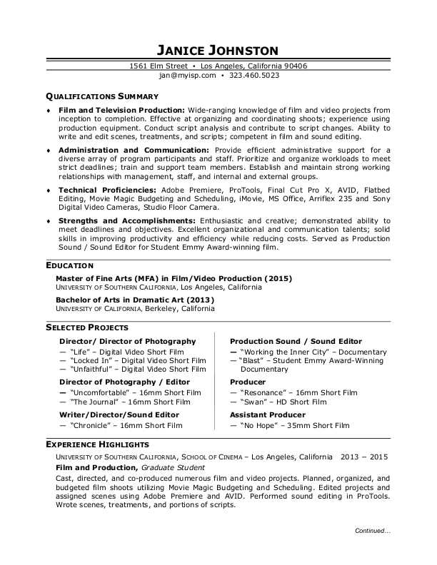 film production resume sample monster director of photography student filmmaker examples Resume Director Of Photography Resume