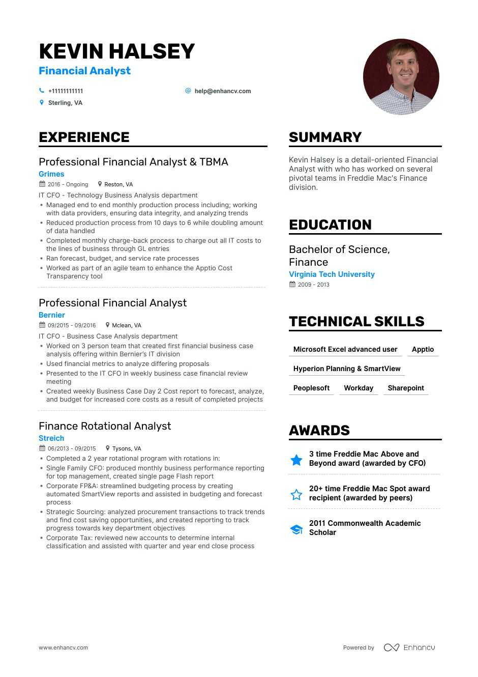financial analyst resume example for enhancv best finance templates coordinate synonym Resume Best Finance Resume Templates