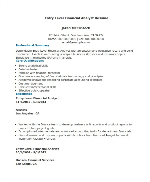financial analyst resume pdf word documents free premium templates entry level finance Resume Entry Level Finance Resume