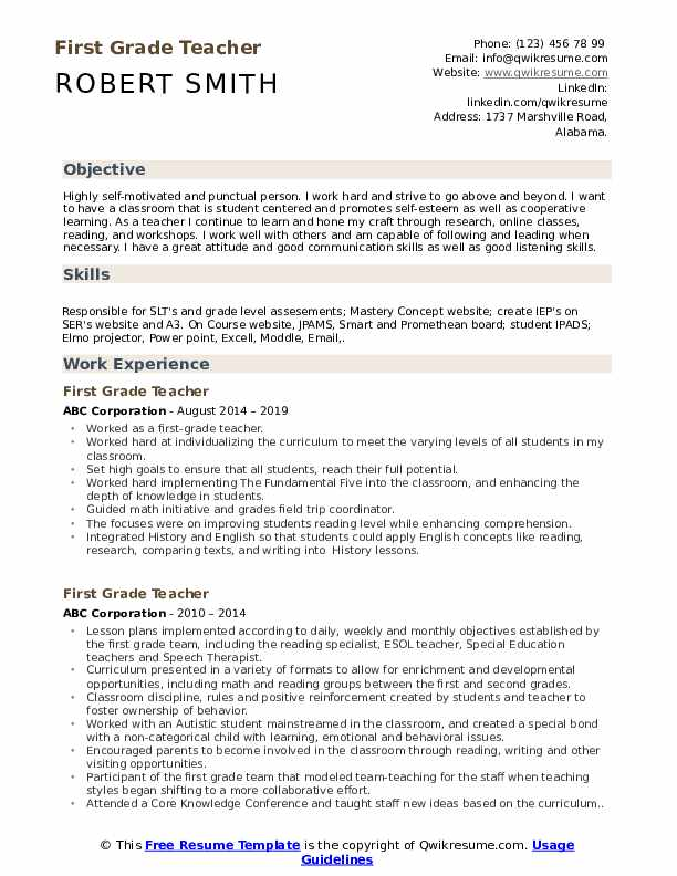 first grade teacher resume samples qwikresume for year student pdf personal driver skills Resume Resume For First Year Student