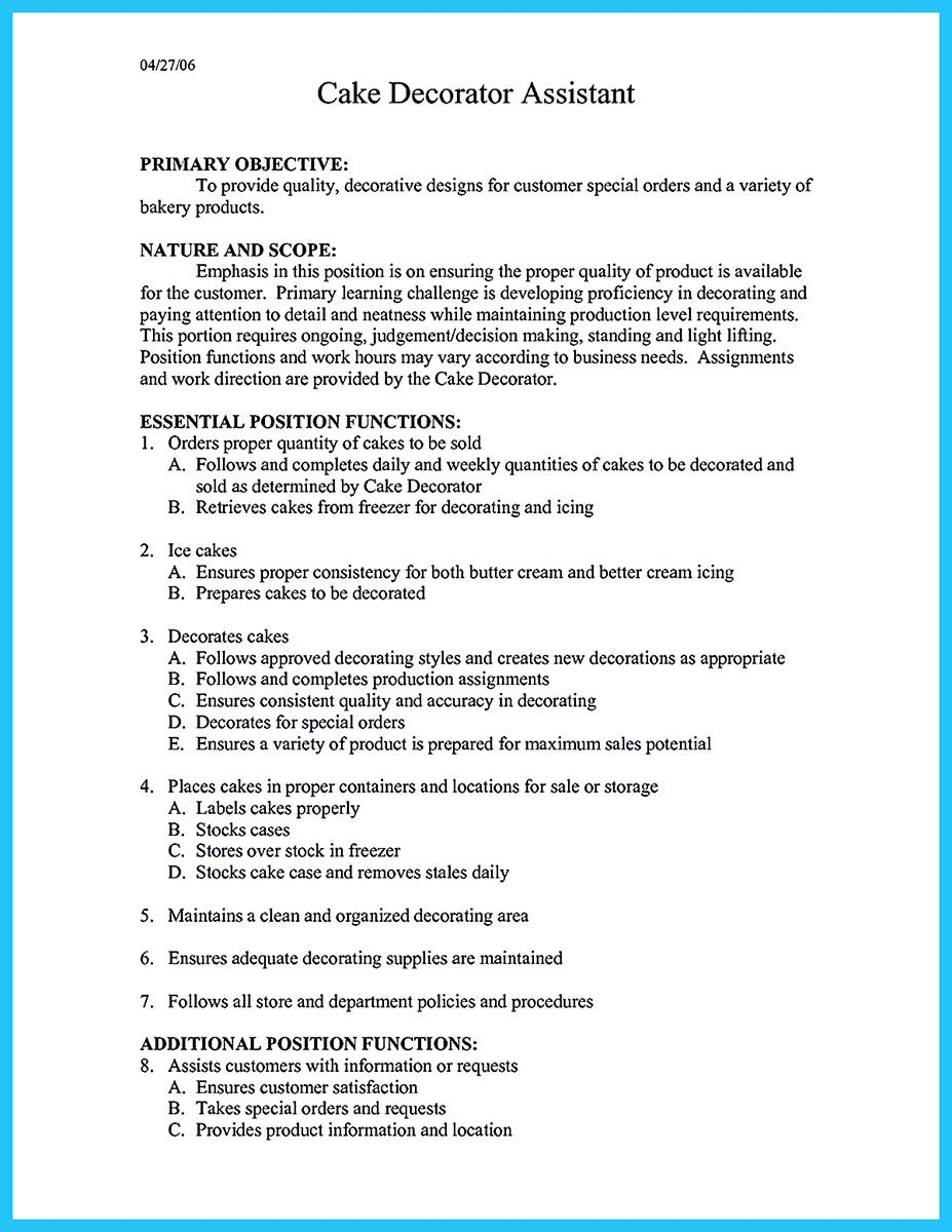 flawless cake decorator resume to guide you your best job examples cover letter for Resume Cake Decorator Resume Template