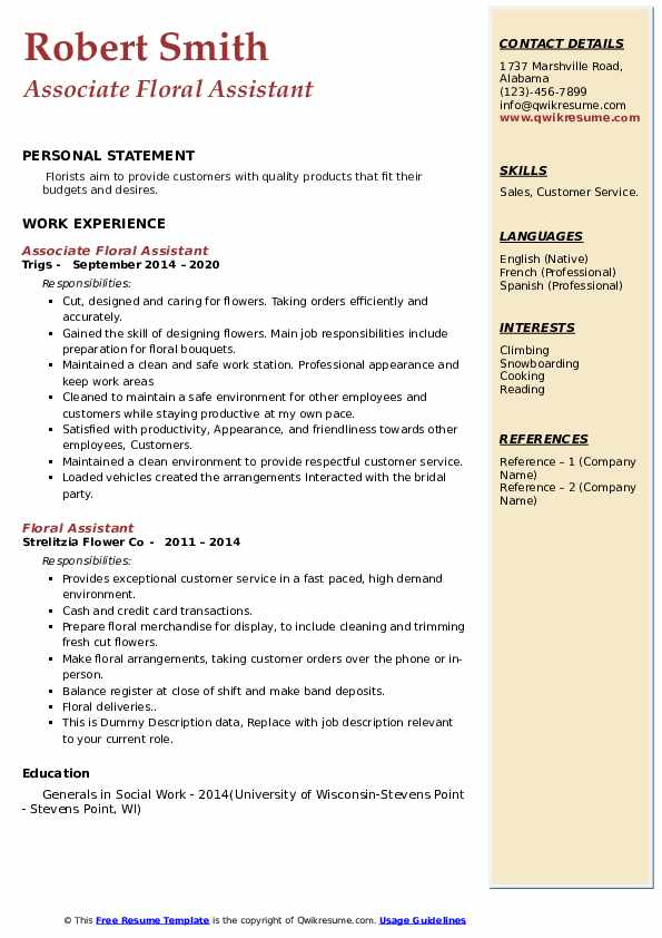 floral assistant resume samples qwikresume pdf construction manager sample facility Resume Floral Assistant Resume