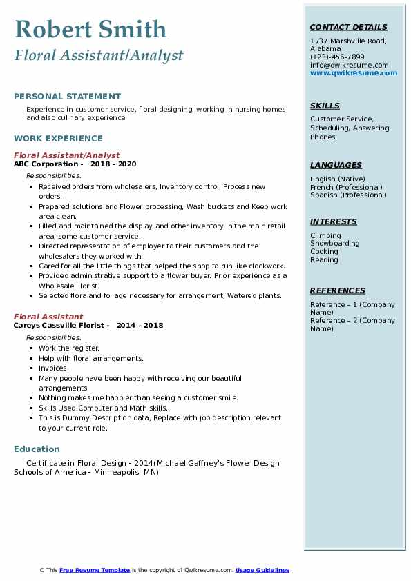 floral assistant resume samples qwikresume pdf lead mri technologist example of child Resume Floral Assistant Resume