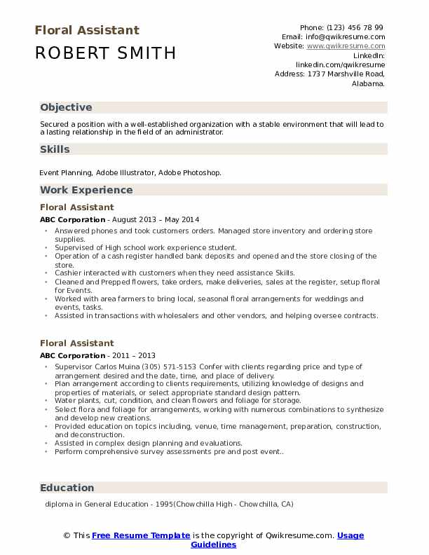 floral assistant resume samples qwikresume pdf linkedin ats construction manager sample Resume Floral Assistant Resume