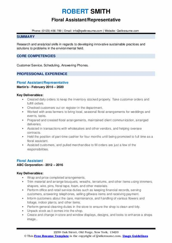floral assistant resume samples qwikresume pdf updating for chronological template word Resume Floral Assistant Resume