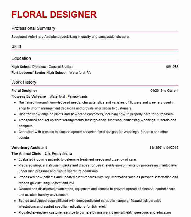 floral designer resume example resumes livecareer assistant civil engineer summary Resume Floral Assistant Resume