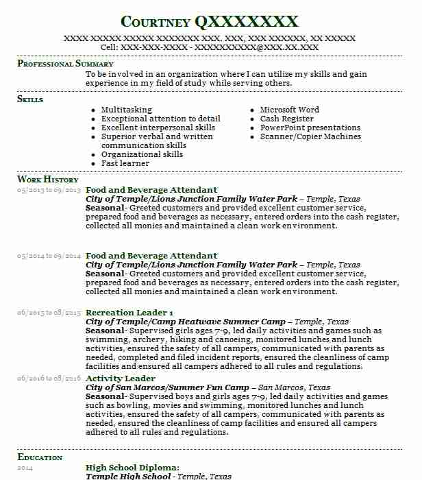 food and beverage attendant resume example service resumes good examples cna cover letter Resume Food And Beverage Resume