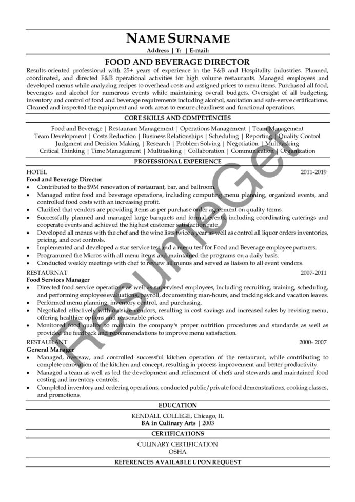 food and beverage director resume examples resumeget entry level tax accountant fbi core Resume Food And Beverage Director Resume