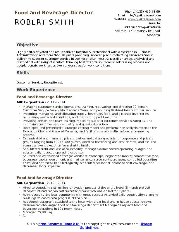 food and beverage director resume samples qwikresume pdf wso template pastry chef field Resume Food And Beverage Director Resume