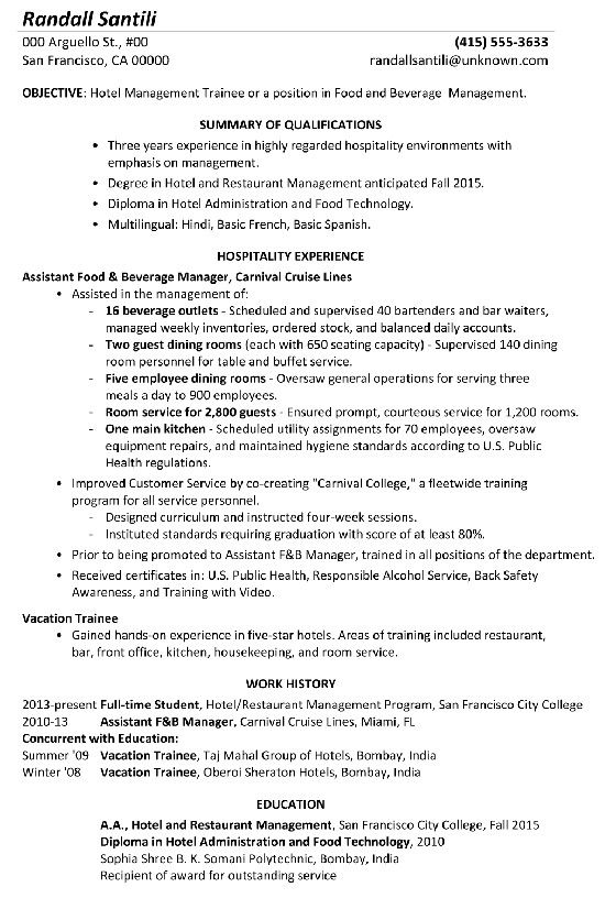 food and beverage manager resume uncommon sample hotel management trainee of intere Resume Resume Format For Management Trainee
