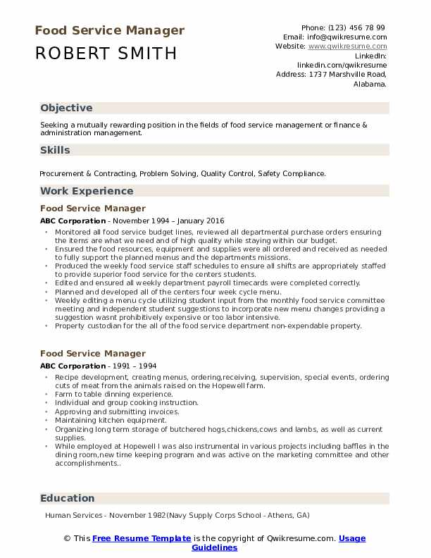 food service manager resume samples qwikresume pdf federal government example Resume Food Service Manager Resume