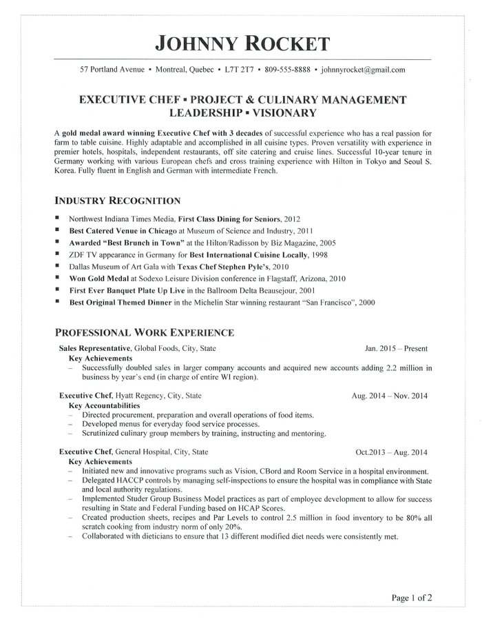 for executive chef resume samples format examples desk assistant objective analyst Resume Executive Chef Resume Examples
