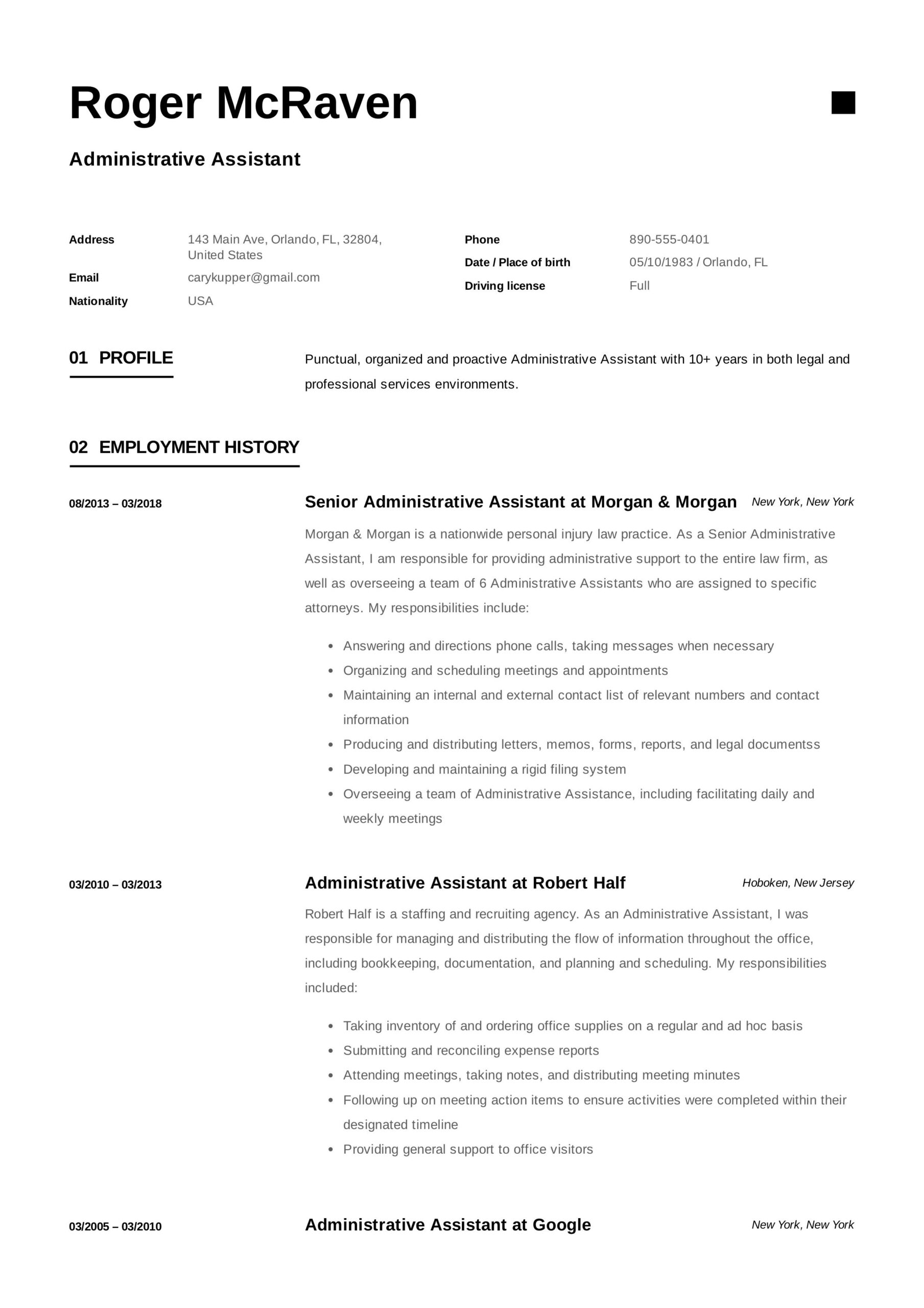 free administrative assistant resume sample template exam cover letter jobs templates Resume Free Administrative Assistant Resume Templates