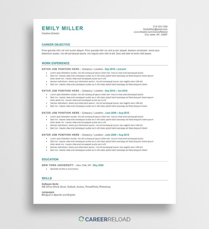 free ats friendly resume template emily career reload approved templates backstage Resume Ats Approved Resume Templates