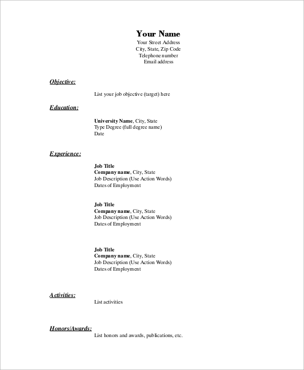 free basic resume samples in ms word pdf format template example administrative analyst Resume Basic Resume Format Template