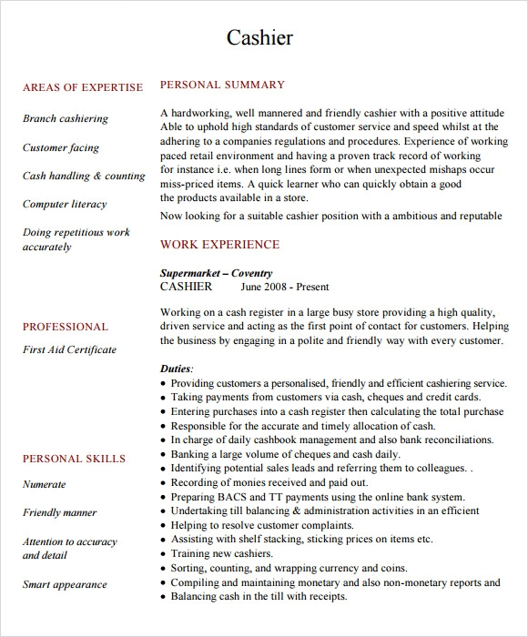 free cashier resume templates in pdf qualifications and skills for sample best keywords Resume Cashier Qualifications And Skills For Resume
