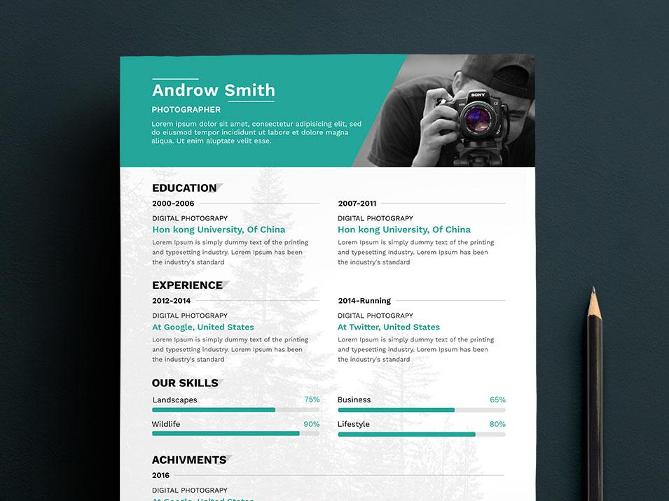 free clean photographers resume cv template in photoshop format creativebooster Resume Photography Resume Objective
