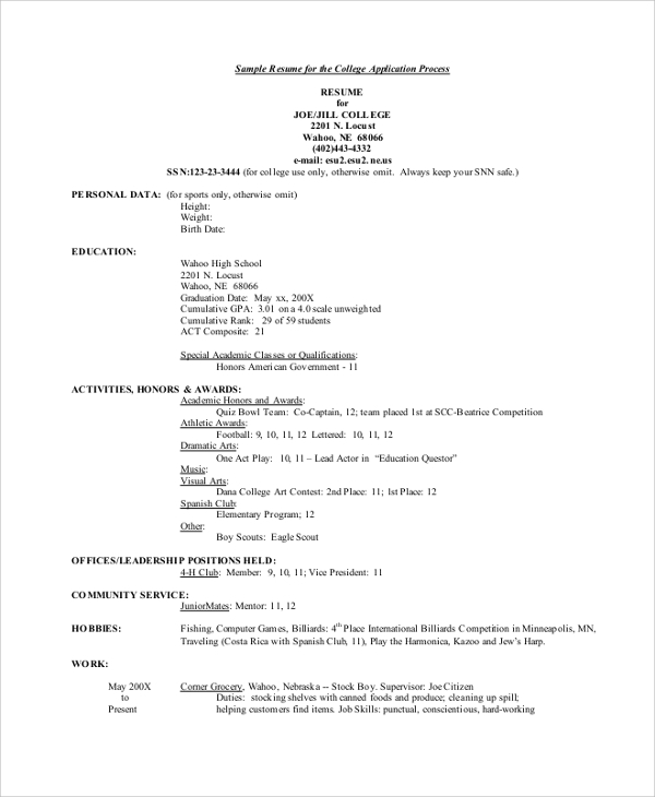 free college resume templates in pdf ms word admission application applying with linkedin Resume College Admission Resume Templates Free