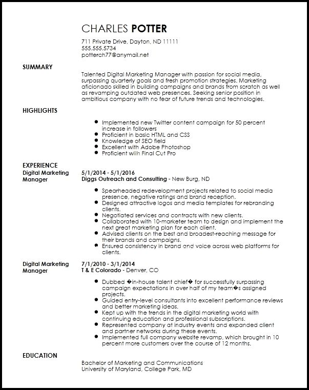 free creative digital marketing manager resume template examples for new styles cost of Resume Resume Template For Digital Marketing