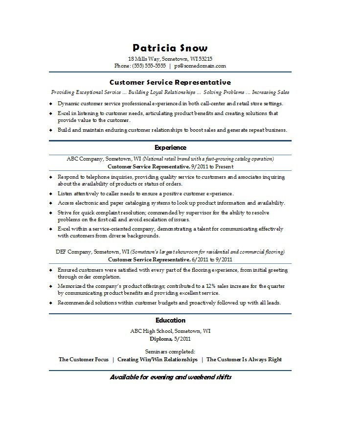 free customer service resume examples template downloads retail sample entry level Resume Retail Customer Service Resume